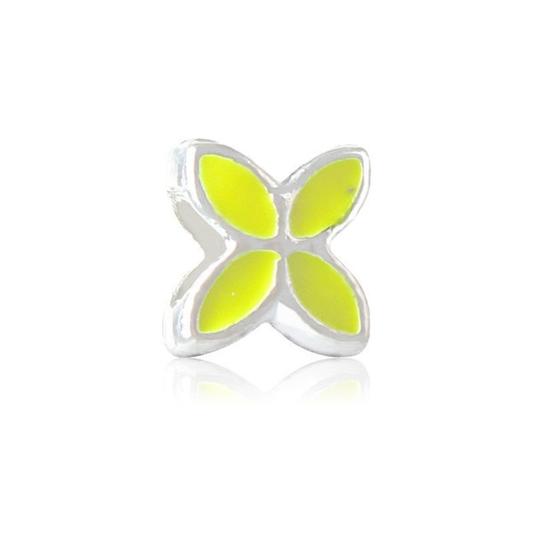 Yellow Lucky Clover Painted Charm Bead Big Hole Fashion Women Jewelry European Style For Pandora Bracelet