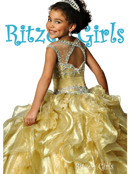 top popular Princess Gold Girls Pageant Dresses Illusion Neck Cap Sleeves Crystal Organza Glitz Ritzee Girls Pageant Dresses For Juniors Open Back 2020