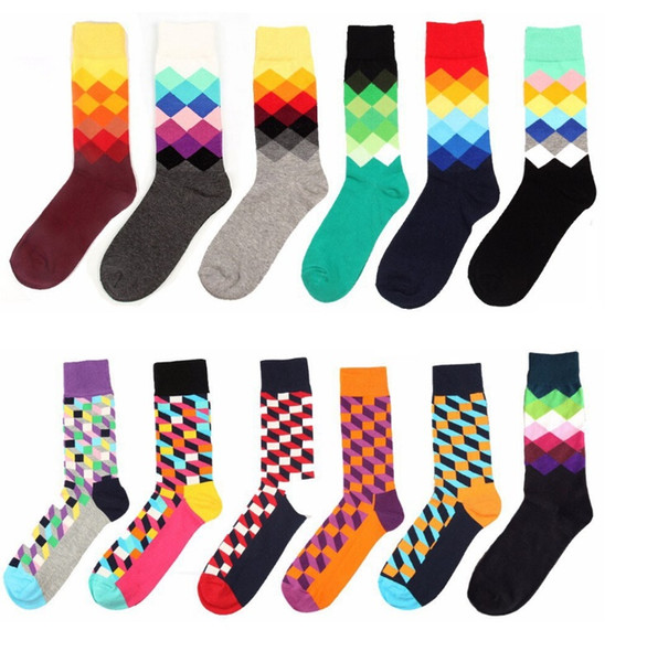 best selling 24pcs=12pairs High Quality Brand Happy socks British Style Plaid Socks Gradient Color Male's Fashion Personality Cotton Socks