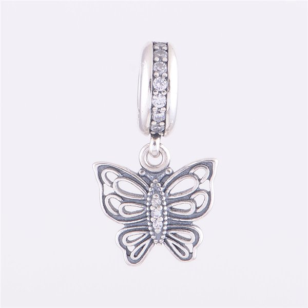 VINTAGE BUTTERFLY PENDANT CHARM DIY Beads Real Solid 925 Sterling Silver Not Plated Fits Pandora Bracelet&Charms