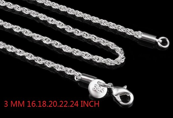 3MM 925 Sterling Silver Stamp - Rope Chain Necklace 16 18 20 22 24 INCH fashion jewelry 80pcs/