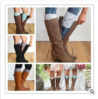 best selling 2015 13 colors Women's Fashion Flower Stretch Lace Boot Cuffs Toppers Leg Warmers Socks wholesale stockings 15cm free shipping AA238