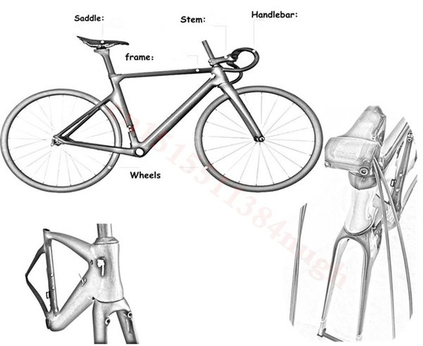 Full frameset bicycle Bike parts include headsets seatpost clamp carbon road frame bicycle frames Carbon Road Frame