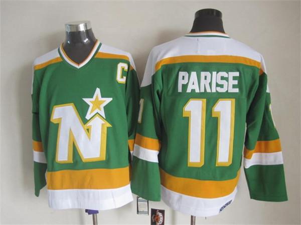 Qualidade máxima ! Homens Minnesota North Stars Hóquei No Gelo Jerseys Barato 11 J. PAR. Vintage Retro CCM Costurado Jerseys Ordem Mix!