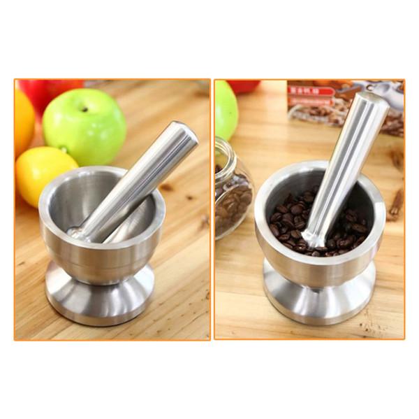 Stainless Steel Mortar Pestle Pedestal Bowl Silver Garlic Pepper Spice Grinder Mill Pugging Pot Moedor Pimenta Kitchen Tool