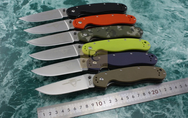 best selling New Ontario RAT Model 1 Big Size Folding knife AUS-8 Blade 6 colors G10 handle High Quality Original Box Camping Survival EDC