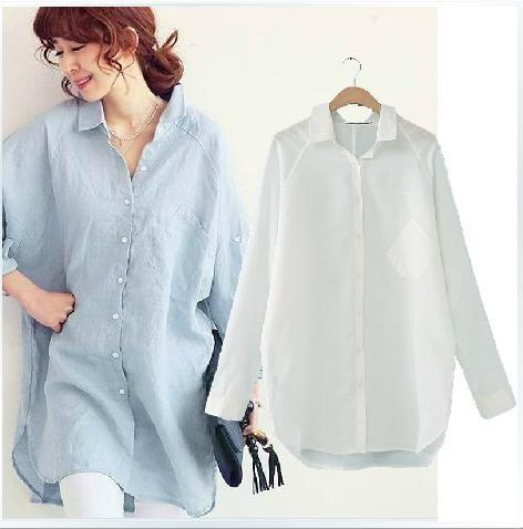 Blusa de Talla grande Señoras Casual Boyfriend Loose Batwing Blusa de manga larga Mujeres Blusa de algodón largo Blue / White Linen Shirt XXXL