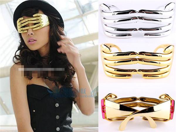 Chegada nova Mão Novidade Dedos Forma Party Glasses Halloween Costume Supplies Decoração Prata / Dourado 6 Pçs / lote Frete Grátis