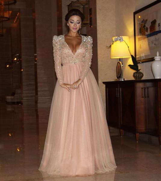 Arabic Dubai Kaftan Myriam Fare Pink Prom Dresses Party Gowns Shining Crystal Beaded Deep V Neck Formal Clothing Evening Celebrity Dresses