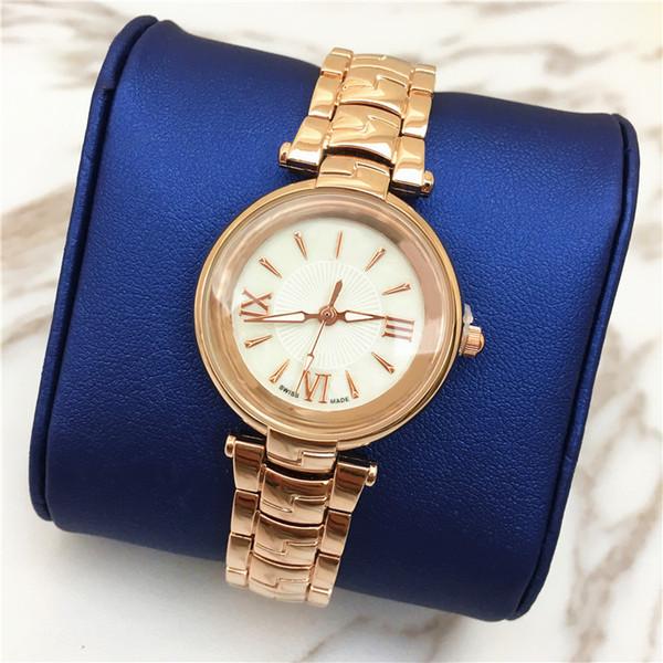 Moda modelo nuevo reloj de las mujeres reloj de oro rosa Popular Shell Dial Face Luminous estudiante 15pcs DHL precio al por mayor gratis Rose regalos para niñas
