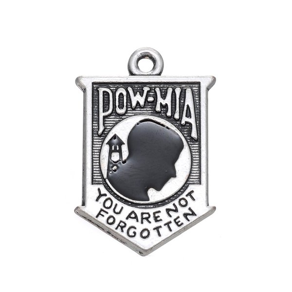Free shipping New Fashion Easy to diy 10pcs hot sale Pow Mia badge message charm jewelry making fit for necklace or bracelet