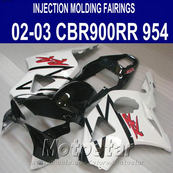 Injection molding Motorcycle parts for Honda cbr900rr fairings 954 2002 2003 white black CBR954 fairing kit CBR900 RR 02 03 YR8