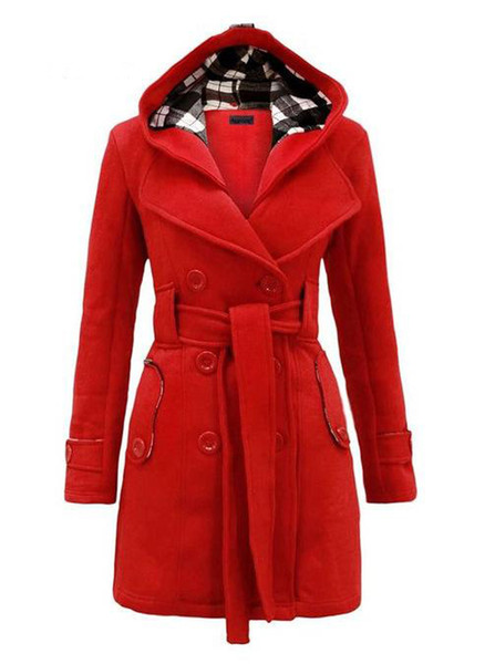 Wholesale- LOHILL 2017 New Womens Fashion Woolen Double Breasted Pea Coat Casual Hoodie Winter Warm Jacket