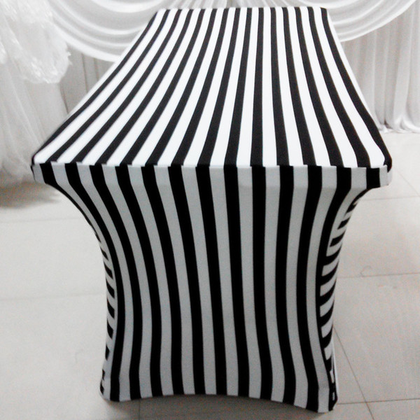 6ft Rectangle White & Black Color Stripe Print Lycra Table Cloth 2PCS With Free Shipping For Wedding Use