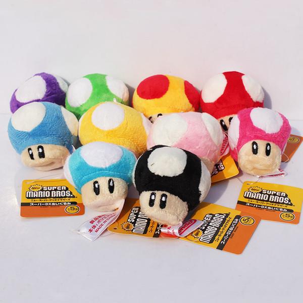 "top popular Super Mario Bros Mushroom With Key Chain Plush Doll 2.5"" Toy 10colors 20pcs lot 2019"