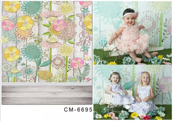 5X7ft Sunflowers Art Painting For Baby Photography Background Muslin Computer Printed Digital Cloth Vinyl Backdrop Senior Studio Backgrounds
