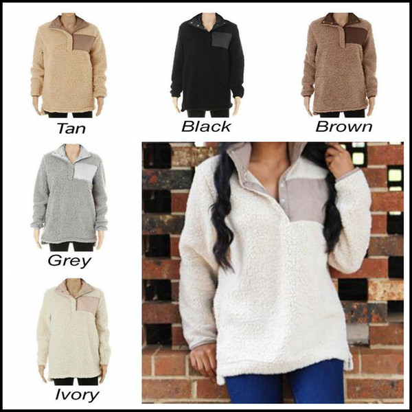 best selling 5 Colors Sherpa Pullover Women Winter Fall Fleece Hoodies Sweatshirt Oversized Jacket Plush Sweatshirts CCA8429 30pcs