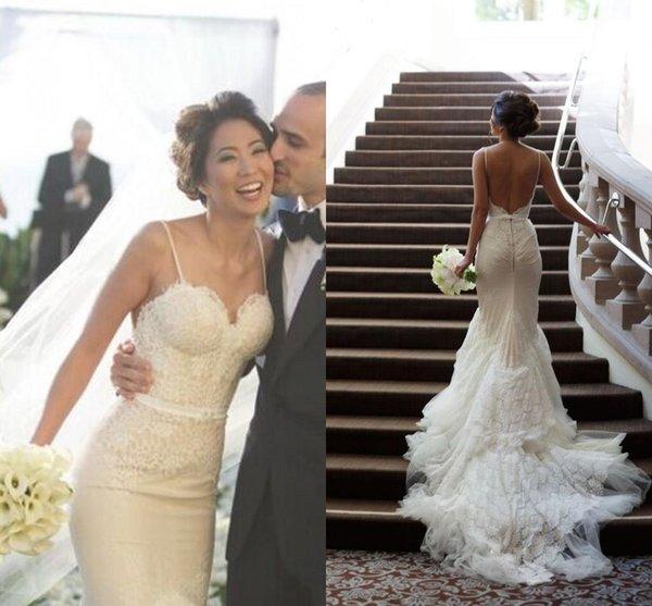 Romantici abiti da sposa in pizzo a sirena senza spalline in tulle sweep treno applique tubino affascinante abiti da sposa backless abito da sposa 2015