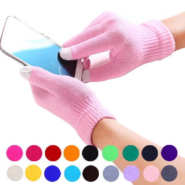 Guanti invernali all'ingrosso-variopinti del touch screen per l'uomo e le donne più spesso lavorati a maglia guantes manoplas mujer mitaine Trasporto libero