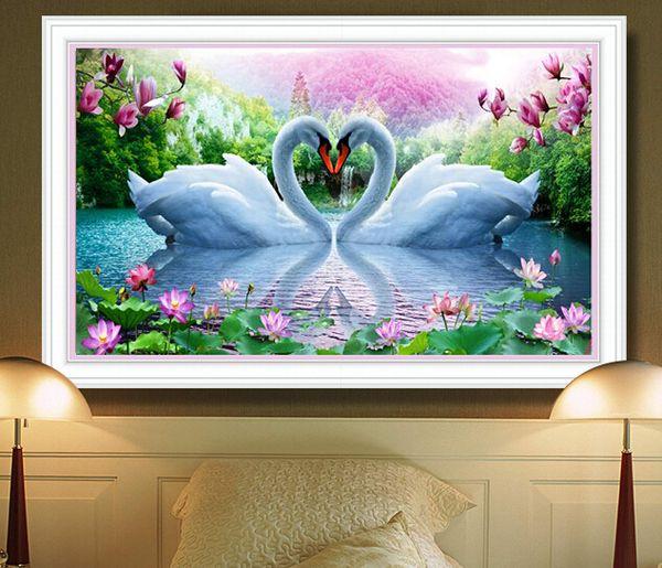 Diy Crystal 5d Diamond Painting Diamond Embroidery Swan Lake