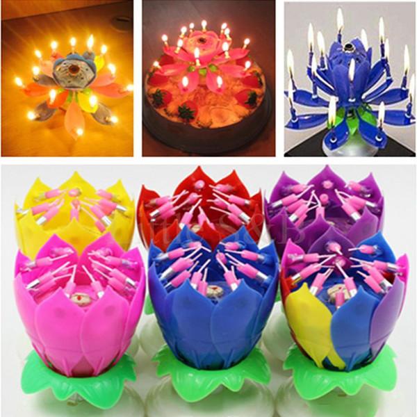 2017 Velas Decorativas Music Candle Birthday Party Wedding Lotus Sparkling Flower Candles Light Event Festive Supply 100pcs/lot XL-349