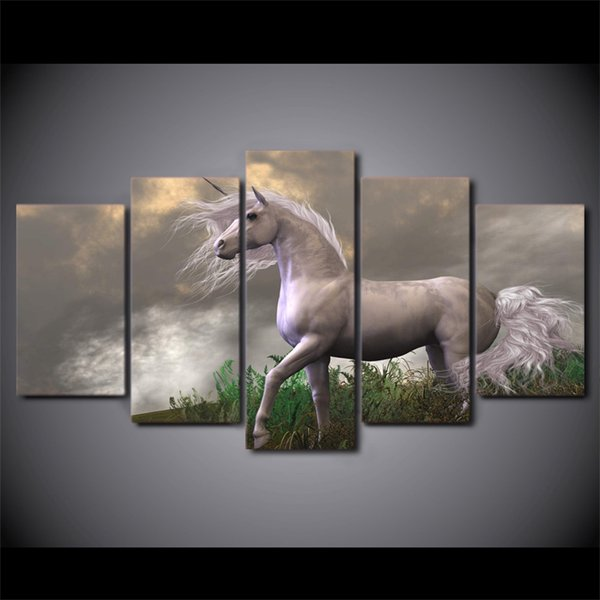 5 Pcs/Set Framed HD Printed Abstract Sunset White Horses Wall Design Canvas Print Poster Modern Art Oil Paintings Pictures
