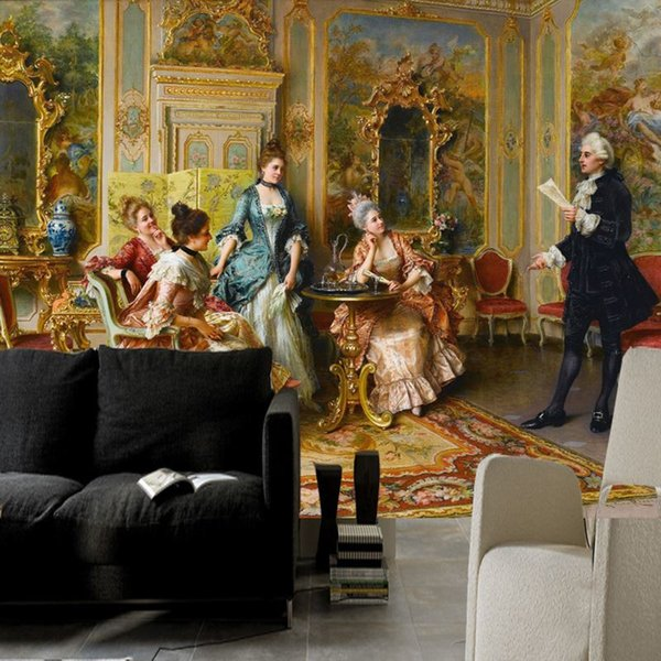 Free Shipping Western Europe World Famous Oil Painting Wallpaper 3D Courtyard Living Room Television Sofa Background