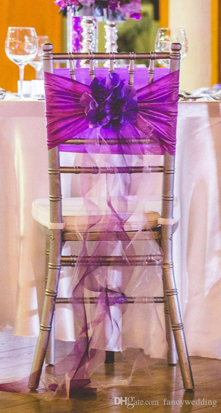 In Stock 2017 Purple Organza Ruffles Chair Covers Vintage Romantic Chair Sashes Beautiful Fashion Wedding Decorations 03