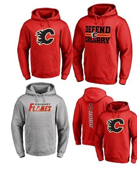 17-18 NHL CALGARY FLAMES hoodies 13 Johnny Gaudreau herhangi bir özel isim ve numara oyuncu tişörtü