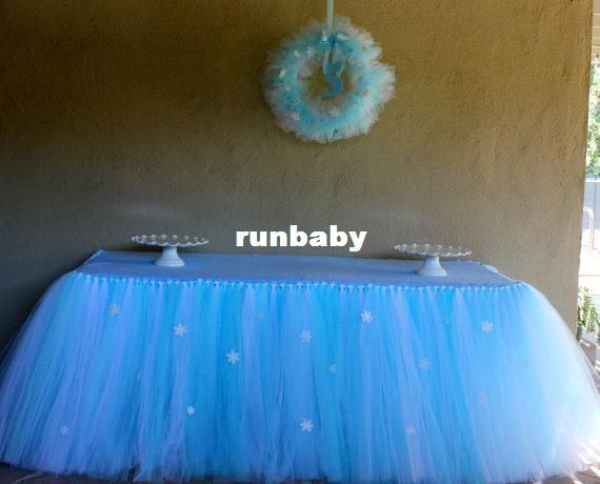Queen Snowflake Tutu Table Skirt Custom Winter Wonderland Tulle Tutu Table Skirt Wedding Birthday Baby Shower Party Decoration