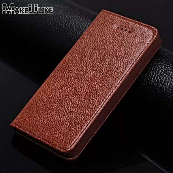 Makeulike genuíno couro phone case para apple iphone 5 5s se capa de luxo coque magnético protetor para iphone 4 4s flip case