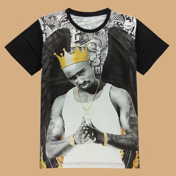 FG1509 Popular Rock star 2PAC Tupac Mens T Shirts Short Sleeve Novelty Top Male Tee Shirt Rock Hip Hop Man t-shirts