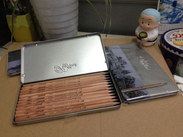 12pcs/set Marco professional artist sketch drawing pencils set (9B-3H) tin box lapices de grafito de alta calidad Cuadro lapiz