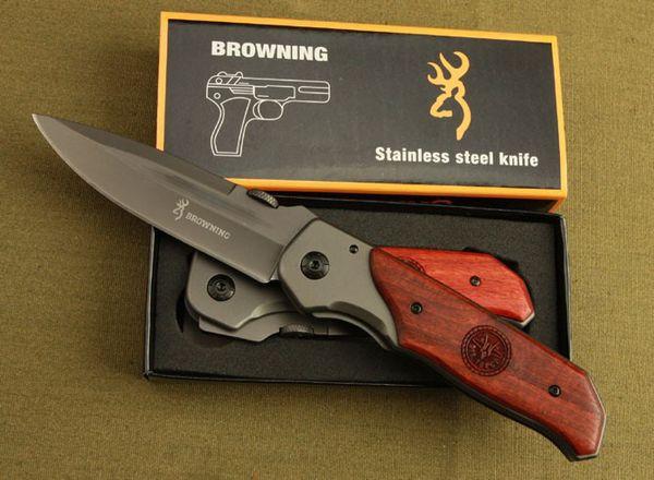 top popular High quality!Browning DA30 Folding Knife Titanium Surface Hardwood inlay Handle Hunting Camping 330 Fighting Knife 2020