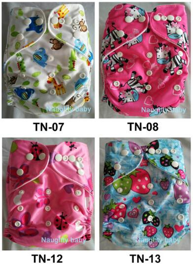 50 sets 1+1 New Design Printed Reuseable Washable Pocket Cloth Diaper Nappy With Microfiber Insert Free Shipping TN