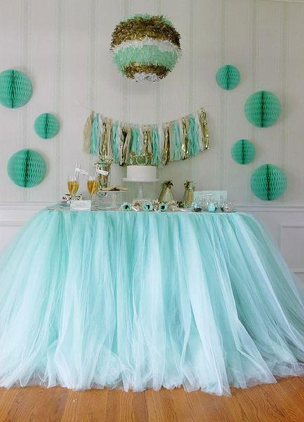 100 * 80 cm verde menta Tulle faldas de mesa decoración de la tabla del tutú de la boda barato creativo Baby Showers por encargo cumpleaños decoración del partido