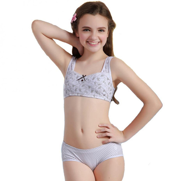 2016 Puberty Girl Bra And Pants Sets Young Girls Training ...