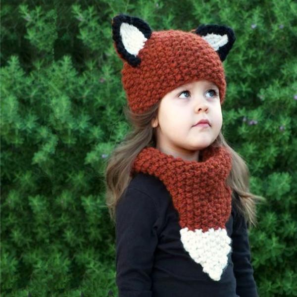 Moda Chunky Gorros Cuello pañuelo Conjunto de lana roja Tejer sombreros Bufandas Conjuntos Ardilla Forma Niño Wraps Cap Kit Nuevo 25zaa B