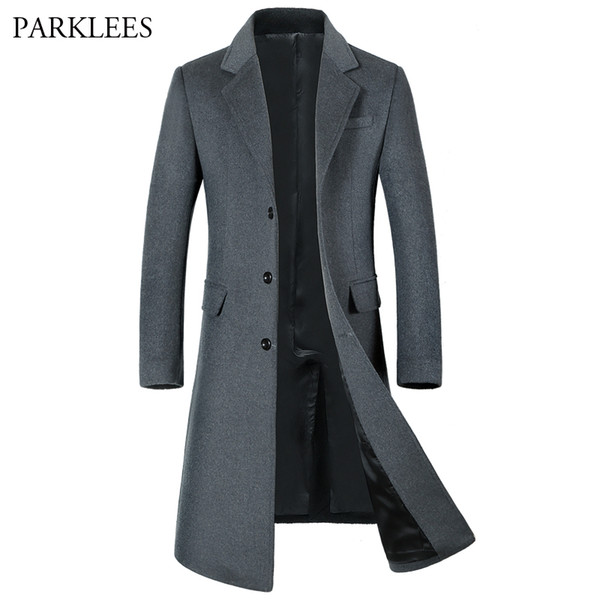 Wholesale- Extra Long Wool Trench Coat Men 2017 Winter Jacket Men Slim Fit Men's Trench Coats Single Breasted Male Windbreaker Overcoat 3XL