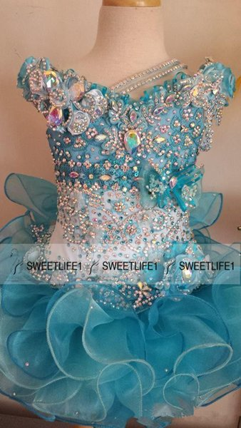 2015 Cute Little Girls Pageant Dresses Beaded Crystals Sequins Ball Gown Organza Cute Baby Cupcake Custom Made Ruffles Flower Girls' Dresses