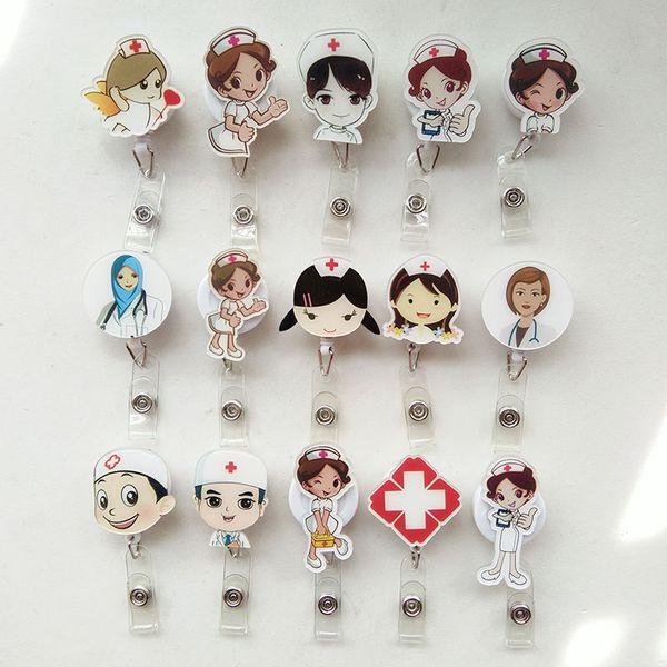 15 pcs Acrylic Nurse Doctor Retractable Pull Badge Reel ID Lanyard Name Tag Card Badge Holder Reels doctor nurse supplies
