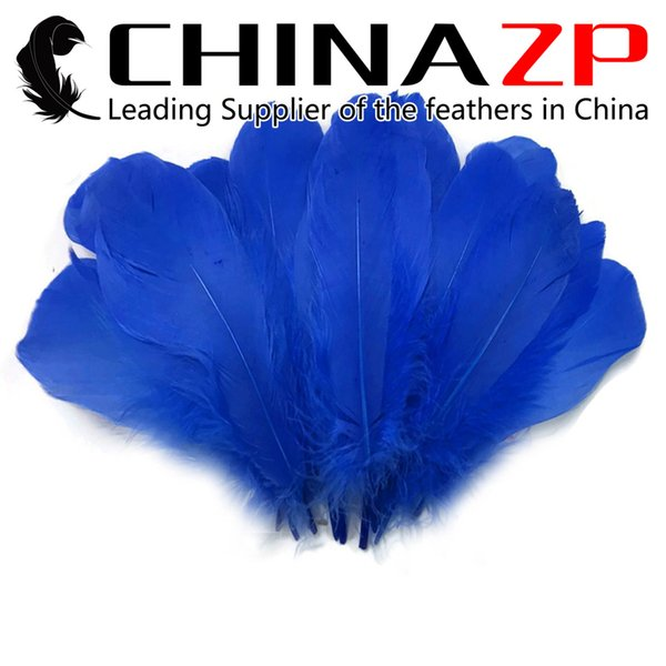 Newest Plumage CHINAZP Crafts Factory 100% Exporting 10~15cm(4~6inch) Top Quality Dyed Royal Blue DIY Decoration Goose Loose Feathers