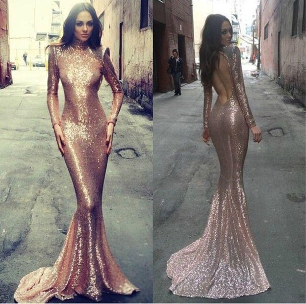 Gold Sequins Formal Evening Gowns Backless High Neck Prom Party Dress 2016 Long Sleeves Mermaid Celebrity Gown Hot Sale