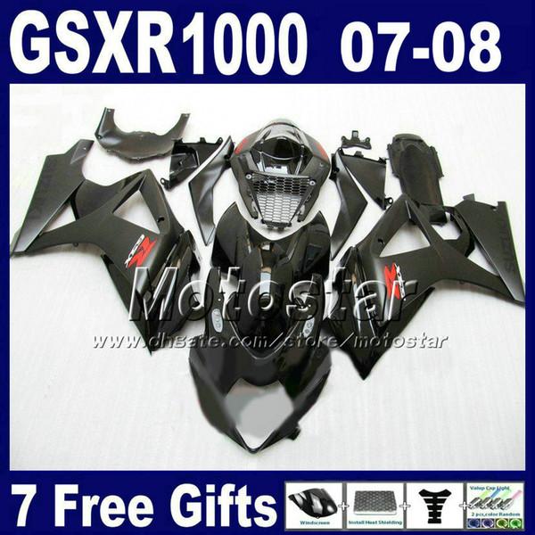 Kit carena di spedizione gratuita per 07 08 GSXR 1000 SUZUKI GSXR1000 2007 GSX-R1000 2008 Carrozzeria nera tutte carenature K7 FD23 + Carenatura centrale