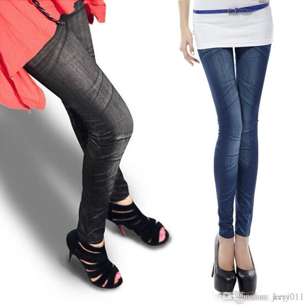 f408558403e12 New One size Stretchy Jean look Fashion legging for women sexy Leggins  Slimming Jeggings L033522