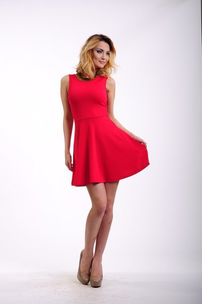 Online Solid Casual Summer Short Red Dress Stylishly Simple ...