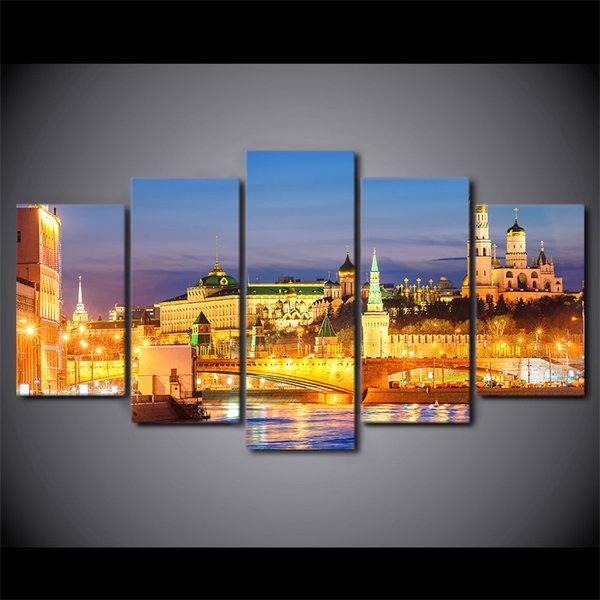 5 Piece HD Prints Canvas Wall Art Pictures Moscow Houses Rivers Bridges Landscape Home Decor Framework Paintings Posters