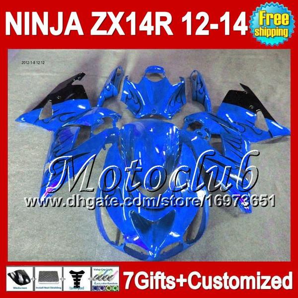 7gresiones para KAWASAKI 12-13 NINJA ZX-14R 2012 2013 2012 2013 Azul negro ZX 14 R 25C207 ZX 14R ZX14R 12 13 12 13 ZX14 R llamas negras Carenado