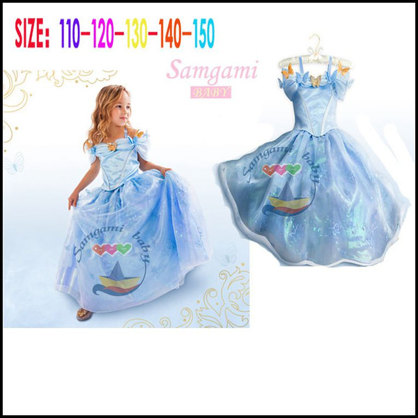 top popular Samgami Baby girls Cinderella princess party dresses Kids girl cosplay costume sunderss with butterfly decoration Sa0014# 2021
