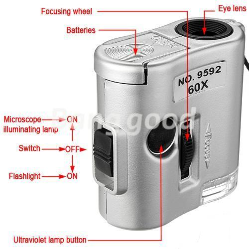 Brand New Mini Lens 60X Pocket Magnifier Microscope With LED Light Jewelry Jeweler Loupe Currency Dectector